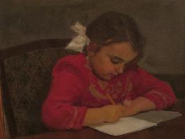 Абрам Зиновьевич Быков. Девочка за уроками
