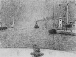 Жорж Сёра. Вход в гавань Онфлера
