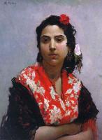 Раймундо Мадрасо. Женщина с красной розой в волосах