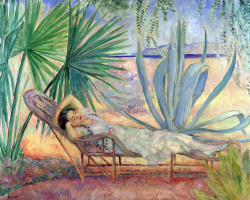 Henri Lebasque. Girl relaxing in the garden