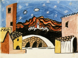"""Pablo Picasso. A sketch of the scenery for the ballet """"Tricorne"""""""