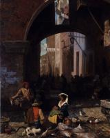 Альберт Бирштадт. Рыбный рынок в Риме. Арка Октавия. Фрагмент