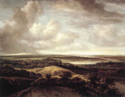 Филипс Конинк. Панорамный вид дюн и реки