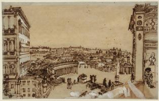 Джозеф Мэллорд Уильям Тёрнер. Вид на площадь Святого Петра в Риме из лоджии Ватикана