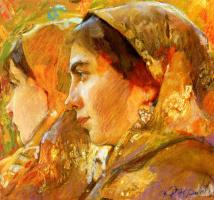 Фёдор Григорьевич Кричевский. Женские головки. Лидия Старицкая с дочерью . 1913