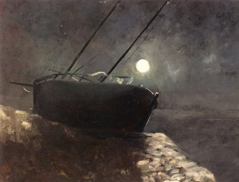 Odilon Redon. Boat in the moonlight