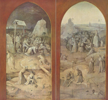 Hieronymus Bosch. The temptation of St. Anthony. The outer panels of a triptych