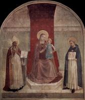 Фра Беато Анджелико. Мадонна на троне со святыми Домиником и Зиновием. Фреска монастыря Сан Марко, Флоренция