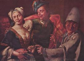 Джузеппе Бонито. Жанровая сцена с масками