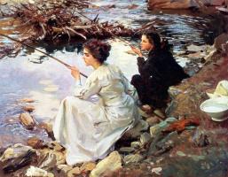 John Singer Sargent. Two girls fishing