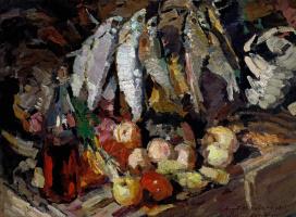 Константин Алексеевич Коровин. Рыбы, вино и фрукты