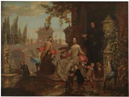 Jan van kessel junior. Portrait of a Family in a Garden