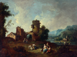 Zais Giuseppe. Landscape with a ruined tower