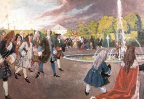 Alexandre Benois. Peter I on a walk in the Summer garden