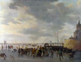 Ян ван Гойен. Сцена на льду возле Дордрехта