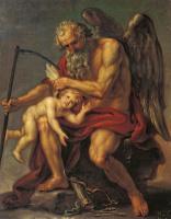 Иван Акимович Акимов. Сатурн с косой, сидящий на камне и обрезывающий крылья Амуру