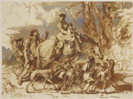 Джованни Бенедетто Кастильоне. Семейство со скотом на фоне пейзажа