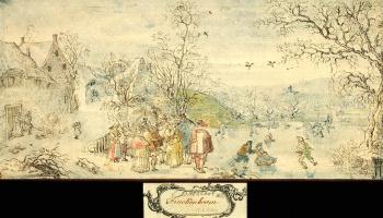 Денис Ван Альслот. Зимний пейзаж с фигурами