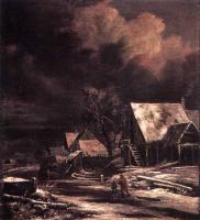 Якоб Исаакс ван Рейсдал. Деревня зимой в лунном свете
