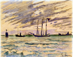 Paul Signac. Harbor with sailboat, tugboat, and barge