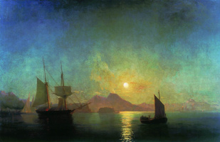 The view of Vesuvius on a moonlit night