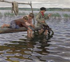 Николай Петрович Богданов-Бельский. Рыбалка детей с мостков