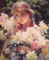 Чарльз Кортни Каран. Большой букет цветов в руках