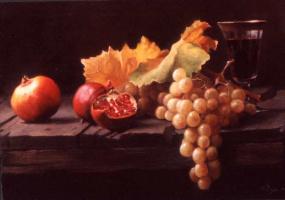 Морин Хайд. Натюрморт с виноградом и гранатами
