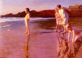 Бенито Реболледо Корреа. Дети на пляже на закате Валенсии