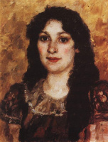 Vasily Ivanovich Surikov. The portrait of Elizabeth of Augustovna Surikova, wife of the artist