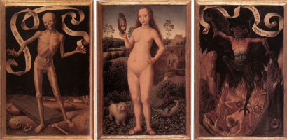 Triptych of earthly vanity and divine salvation. The front side