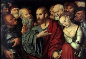 Лукас Кранах Младший. Христос и блудница