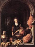 Геррит Доу. Женщина чистит морковь