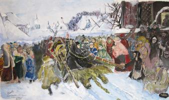 Dmitry Yurievich Buyanov. Free reproduction of Vasily Surikov - Boyarynya Morozova