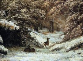 Гюстав Курбе. Олень в укрытии зимой