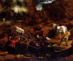 Ян Сиберехтс. Фигуры с тележкой и лошадями, переходящими вброд поток