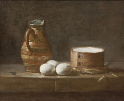 Jean Baptiste Simeon Chardin. Still life with jug, eggs and cheese