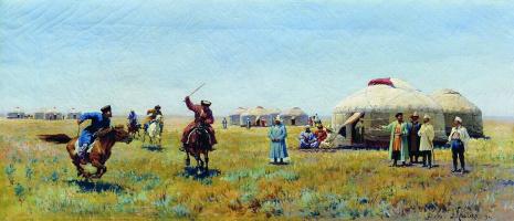 Alexey Danilovich Kivshenko Russia 1851-1895. In the steppe. 1894