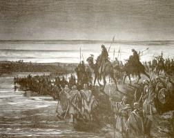 Поль Гюстав Доре. Иллюстрация к Библии: израильтяне переходят Иордан