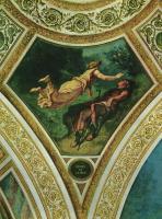 Эжен Делакруа. Бурбонский дворец, роспись паруса под куполом Поэзии: Гесиод и Муза