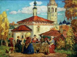 Boris Mikhailovich Kustodiev. In the old Suzdal