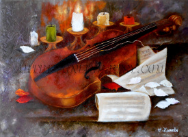 Natalya Zhdanova. Oil painting still life with violin