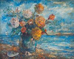 David Davidovich Burliuk. Still life on background of ocean
