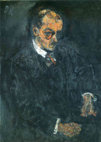 Oskar Kokoschka. The man in glasses