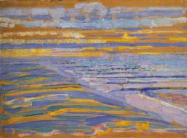 Тамара Лемпицка. Вид с дюны с пляжем и пирсом