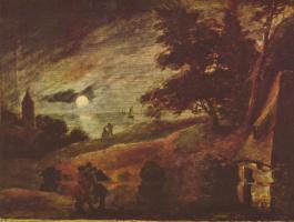 Адриан Браувер. Пейзаж при лунном свете