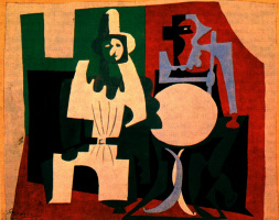 Pablo Picasso. Pierrot and harlequin on cafe terrace