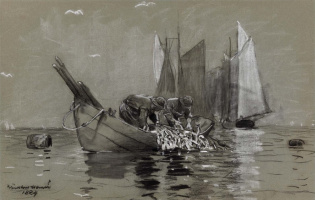 Winslow Homer. Heavy nets filled with herring