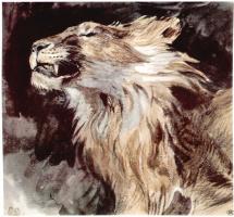 Эжен Делакруа. Голова льва