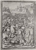 """Бернардо Кастелло. Иллюстрация к поэме Торквато Тассо """"Освобожденный Иерусалим"""", Сарацин передает Готфриду его меч"""